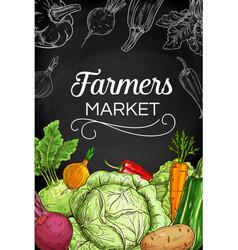 Fresh farm vegetable chalk sketches on blackboard vector