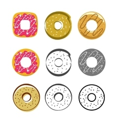 Glazed icing donuts icons set isolated on vector image