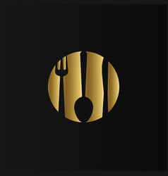 golden circle with cutlery inside isolated logo vector image