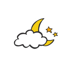 Good night card night moon doodle vector