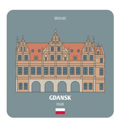 Green gate in gdansk poland vector