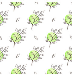 green spring floral seamless pattern vector image