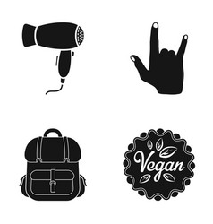 Hair dryer gesture and other web icon in black vector
