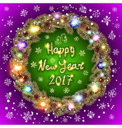 Happy 2017 New Year text for greeting card Golden vector