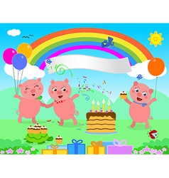 Happy birthday pigs vector image