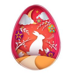 happy easter paper origami vector image