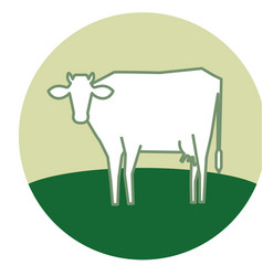 line silhouette of standing cow vector image