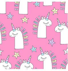 magic cute unicorn background with stars vector image