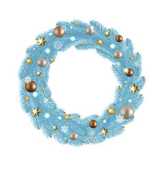 merry christmas wreath with gradient mesh vector image