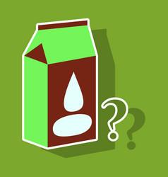 Milk carton box sticker flat style isolated on vector