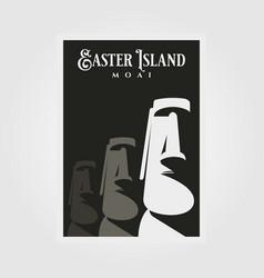 Moai statue poster background design easter vector