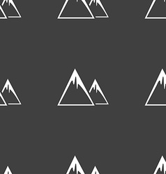 Mountain Icon sign Seamless pattern on a gray vector