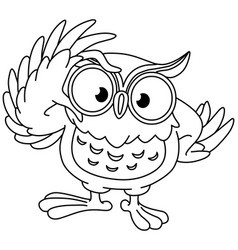 Outlined owl with glasses vector