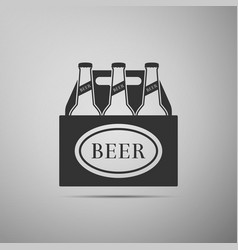 Pack of beer bottles icon on grey background vector