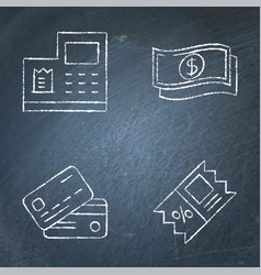 Payment and discount icon set on chalkboard vector