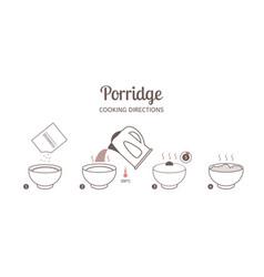 Porridge cooking directions vector