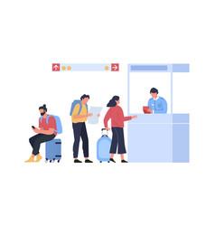 queue for passport control concept travel vector image