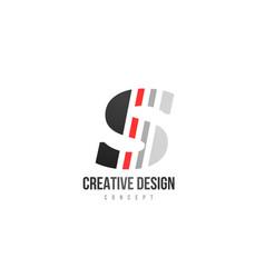 Red black alphabet letter s logo icon design for vector