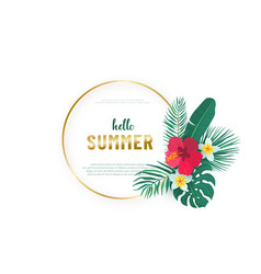 Round gold frame with tropical hawaii flower vector