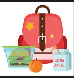 School lunch colorful poster schoolbag lunchbox vector