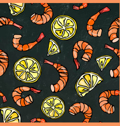 seafood seamless pattern shrimp or prawn and vector image