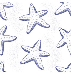 seamless marine cartoon pattern with sea animals vector image