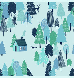 Seamless pattern fairy tale winter forest vector