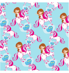 Seamless pattern with girl on a unicorn vector