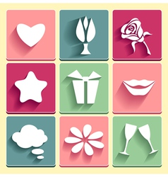 Set Love chat favorites congratulation icons vector