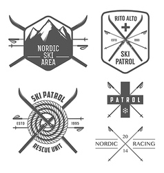 set nordic skiing labels and emblems vector image