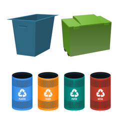 set of buckets for sorting garbage with signs vector image