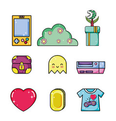 set of retro videogames items vector image