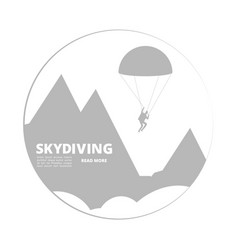 Skydivind sign with jumper and mountain vector