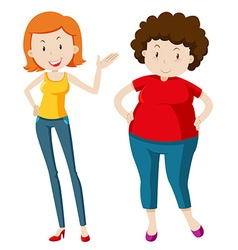 Slim woman and chubby woman vector