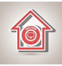Smart home with monitor computer isolated icon vector