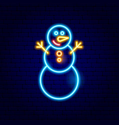 snowman neon sign vector image