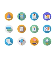 Social media marketing flat color icons vector image