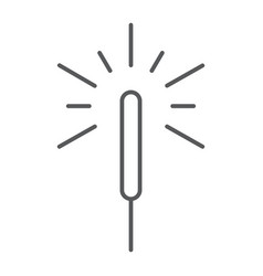 Sparkler thin line icon flame and firecracker vector