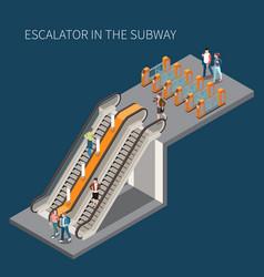 subway escalator isometric element vector image