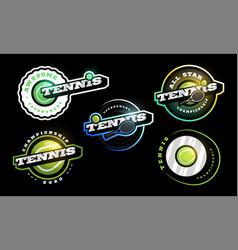 tennis logo set modern professional typography vector image
