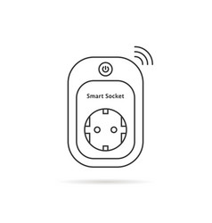 Thin line smart power socket vector