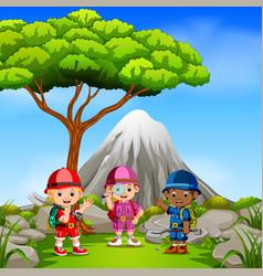 Three adventurer in park with mountain scene vector