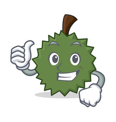 Thumbs up durian character cartoon style vector