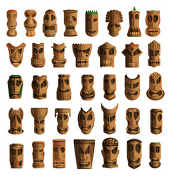 tiki idols icon set cartoon style vector image