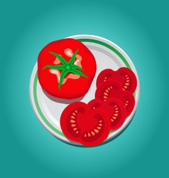 tomato on a plate with slices vector image