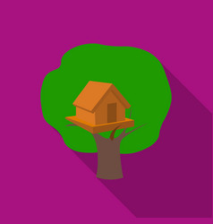 tree house icon in flat style isolated on white vector image