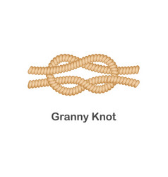 Type nautical or marine node granny knot for vector
