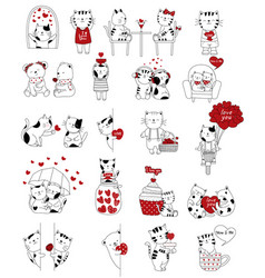 Valentines day background with cute baby cat vector