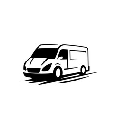 van delivery minivan for fast delivery logo vector image