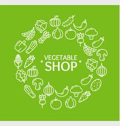 vegetables food shop round design template outline vector image